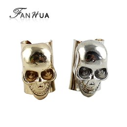 Wholesale Top Ear Cuff - New style top quatlity allloy shiny unique individual skull punk style earring cuff clip designer jewely