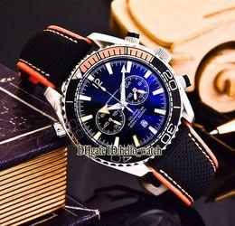 Relógios de mergulho oceânicos do planeta on-line-Alta Qualidade Planeta Oceano 600M Co-Axial 215.32.46.51.01.001 Preto Dial Quartz Chronograph Mens Watch Couro Strap Diver Relógios