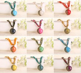 Wholesale Cat Eye Green Necklace - 17 colors Restoring Ancient Ways Bohemia Peacock Cat Eyes Stone Pendant Necklace Alloy Necklace as a gift for Women and girls