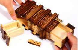 Wholesale Wholesale Wooden Puzzles Boxes - secret lock dual magic IQ wooden gift box -Brain Teaser Puzzle Christmas gifts box gifts idea DHL Fedex free shipping