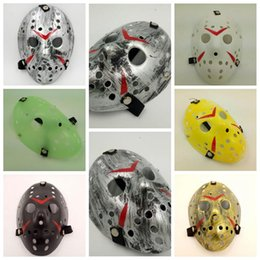 Wholesale Horror Mask Full Face - Halloween Cosplay Costume Porous Mask Jason Voorhees Friday The 13th Horror Movie Hockey Full Face Mask Party Mask CCA7656 100pcs