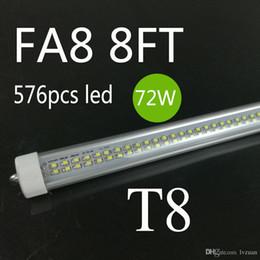 Wholesale Energy Light Tube - Wholesale! New 576PCS SMD double rows 72w LED tube light FA8 R17D 8FT 72W fluorescent lamp T8 tube AC85-305V 2400mm 8ft tube high lumens hot
