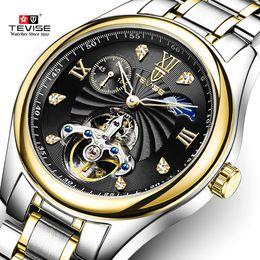 Wholesale watch skeleton rectangle men - high quality Fashion Skeleton Tourbillon Men Mechanical Watch Automatic Classic Waterproof sport Wrist Watches men Reloj Hombre
