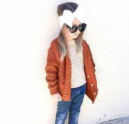 Wholesale Kids Cardigan Clothing - Kids sweater INS children double pocket knitting sweater cardigan girls twist V-neck single-breasted outwear children clothing A0734