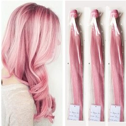 Wholesale Blonde Roses - Silk Straight Pink Human Hair Weaves Rose Pink Brazilian Virgin Hair Bundles 3pcs lot Pink Hair Extensions Double Wefts 8A Grade Wefts