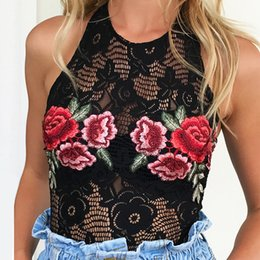Wholesale Backless Halter Bodysuit - 2017051825 Sexy halter black lace bodysuit Women hollow out backless jumpsuit romper Summer floral embroidery lingerie top femme