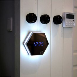 Wholesale Thermometer Digital Mirror - Wholesale- Multifunction Mirror Glass Digital Wall Clock Night Lights Snooze Light-emitting Thermometer Alarm Clock with USB Cable Hot Sale