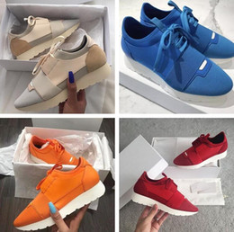 Wholesale Leather Shoes White Sole - Brand Original Box Casual Shoe Man Woman's Fashion Race Runner Shoes Breathable Mesh Mixed Colors Orange Blue White Sole Sneaker Size 46