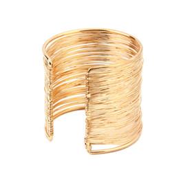 Glitzer-manschetten-armband online-6 cm Gold Versilbert Optional Drahtöffnung Manschette Armbänder Armreif Für Frauen Glitzernden Schmuck Zubehör