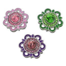 Wholesale Diamond Shaped Button - 19.5mm Ancient Silver Fixed Mixed Diamond Flower Shape Alloy Diamond Button DIY Noosa Jewelry Fashion Snap Button Jewelry Accessories N101S