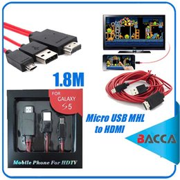 Wholesale Only Cable - 1.8m Micro USB MHL to HDMI Cable HDTV Video Audio Adapter Converter Only for Samsung Smartphone Series Version With MHL function