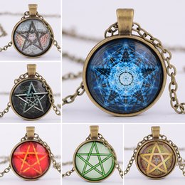 Wholesale Cabochon Retro - Retro Mysterious Pentagram Figured Plate Glass Gem Cabochon Pendant Necklace For Witchcraft Worship Fans Jewelry Gift