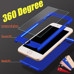 Wholesale Hard Case Iphone Package - 360 Degree Full Coverage Hard PC Case For Iphone 7 Plus With Tempered Glass Back Cover With Hole For Iphone 7 I6 Plus OPP Package MOQ:100pcs