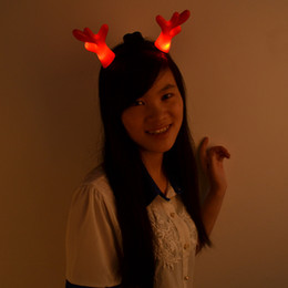 Wholesale Toy Christmas Horns - Wholesale- 20pcs lot Free shipping flash colorful Christmas party headband toy Deer Horns LED Glowing Kids Toy decoration