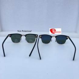 Wholesale Half Frame Square Glasses - UV400 Brand Designer Sunglasses for Men Women Soscar Polarized Sunglasses Plank Frame Glass Lenses Metal Hinge 49 51mm 3016 Gafas de sol