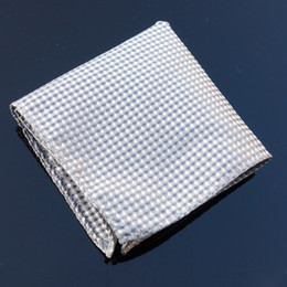 Wholesale Ties Hankerchief - Hanky grey checked Men's Fashion Pocket Square Hankerchief Wedding Party Hankerchief