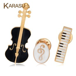 Wholesale Violin Gifts - Wholesale- 3Pcs Set Luxury Gold Plated Brooches For Women Black Violin White Piano Note Brooch Pins Fashion Jewelry Accessories Gifts