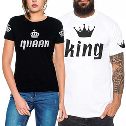 Wholesale Lover Clothes Couples - 2018 Desinger Lovers t shirt for men womens tops Short Sleeve Loose Imperial Print Couple Clothing T-Shirt Blouse King and Queen Black White