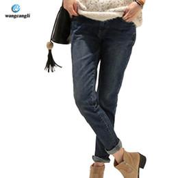 Wholesale Loose Cotton Pants For Women - Wholesale- Winter   Fall ripped jeans woman holes denim pants embroidered leisure jeans pants for women loose blue female jeans trousers