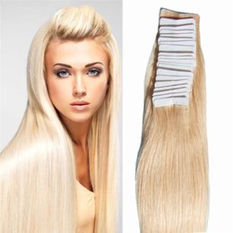 "Wholesale Hair Extensions Glue Tape - 16"" 18"" 20"" 22"" 24"" 20pcs lot Indian Human Hair PU Tape Hair Glue Skin Weft Tape Hair Extensions Fast Shipping"
