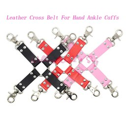 Wholesale Hogtie Cuffs - Sex Products Accessories Pu Leather Cross Belt For Hand Ankle Cuffs Bondage Tape Hogtie Restraints Fetish Adult Game Sex Toys
