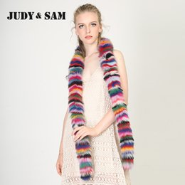 Wholesale Real Fox Scarf - Wholesale- Stripped Colorful Real Fox Fur Scarf for Women Soft Neckwarm Long Scarves