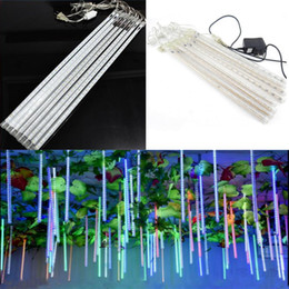 Wholesale Shower Led Strip Light - Led 2017 8PCS Set Snowfall LED Strip Light Christmas lights Rain Tube Meteor Shower Rain LED Light Tubes 100-240V EU US Plug