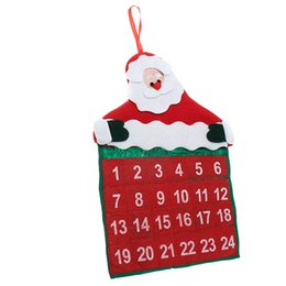 Wholesale Christmas Countdown - Christmas Calendars Fabric Time Countdown Calendar Fun Christmas Santa Claus Crafts Home Office Decorations New Year Gifts Free Shipping