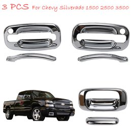 Wholesale Tailgate Handles - 1 Set Triple Chrome Door And Tailgate Handle Covers With Passenger Side Keyhole For Chevy Silverado 1500 2500 3500 GMC Sierra