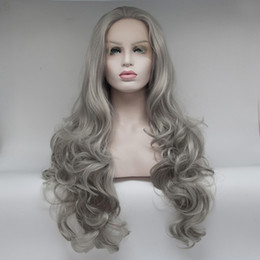 Wholesale Silver Wigs For Women - Factory supply silver grey wavy synthetic lace front wigs for women synthetic hair long heat resistant synthetic wigs free shipping