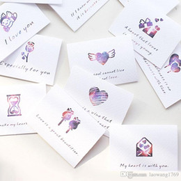 Wholesale Wedding Card Themes - 6pcs lot love theme folding message card with envelope Valentine's day wedding blessing greeting card Gift card holiday universa