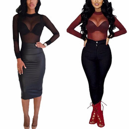 Wholesale Ladies See Through Blouses - 2016 Sexy Women Blouses See Through Transparent Mesh Stand Neck Long Sleeve Sheer Blouse Shirt Ladies Tops Tee Plus Size