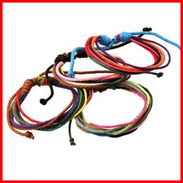 Wholesale Cotton Braid Bracelet - Wholesale- Fashionable Jewelry Handmade Adjustable Size Braided Bracelet Multi Color Cotton Rope Bracelet