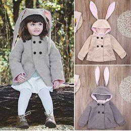 Wholesale Kids Beige Trench Coats - Wholesale- girls clothes 2016 Overcoat Baby Girls Rabbit Jacket Hooded Trench Coat Outwear Toddler Girl Clothes Kids Coat 1-5Y