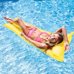 Wholesale Inflatable Beach Mat - Random Color Inflatable Pool Float Swimming Floating Bed Water Hammock Recreation Beach Mat Mattress Lounge Bed Chair Pool Free Inflator