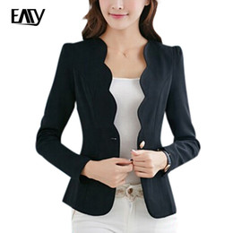 Wholesale Working Jacket Women - Wholesale- 2017 New Arrive Spring Slim Women Office Coat Casual Women Jacket Long Sleeve One Button Suit Ladies Black White Work Wear S-XL