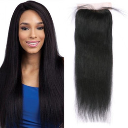 Wholesale natural yaki hair piece - Mongolian Hair Free Part Light Yaki Straight Lace Closure with Baby Hair Non-remy Human Hair Closure Piece FDSHINE