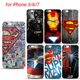 Wholesale Iphone5 Blue - For Galaxy S6 S7 Edge Deadpool Spiderman Avengers Hard PC Case Coque For iphone5 5S 6S 7 8 Plus Batman Ironman Superman Accessories