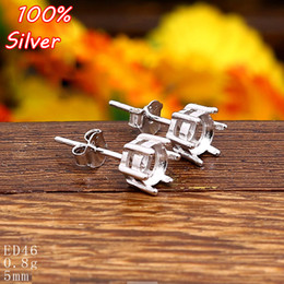 Wholesale Sterling Silver Jewelry Blanks - 100% 925 Sterling Silver Stud Earrings Blank Claw Fit 5mm Platinum Silver Base Tray for Diy Jewelry Earrings