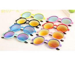 Wholesale Toddlers Sunglasses Wholesale - 2015 Kids Toddlers Fashion Round Sunglasses acetate frame metal tips Eyeglasses Spectacles UV400 Sun Glasses 8 Colors 20pcs lot
