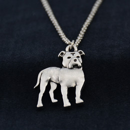 Wholesale Big Pit - New Fashion Cute Punk Floppy Ears Pit Bull Dog Pendant Long Chain Necklace Vintage Silver Animal Pet Big Necklaces For Women Men Jewelry