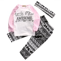 Wholesale Cute Winter Headbands - Wholesale- Boutique Kids Baby Girls Top T-shirt Long Sleeve Pants Casual Headband 3pcs Cute Baby Girl Outfits Clothes Set