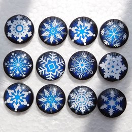 Wholesale Glass Chunks - Noosa chunks White and Blue Snowflakes 18mm Glass Snap Button Snaps Jewelry Buttons For Ginger Snap Bracelets