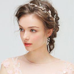Wholesale Elegant Hair Flowers - 2017 New Arrival Fashion Elegant Crystal Bride Headwear Ribbon Headband Wedding Hair Accessories with Earrings