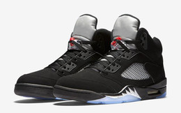 Wholesale High Reflective Pvc - (With Box) high Quality air retro 5 OG Black Metallic Men Basketball Shoes 3M Reflective Effect Sup retro 5s sports shoes eur 41-47