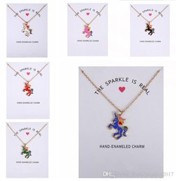 Wholesale Rainbow Chokers - 2017 New Dogeared Necklace With Card Rainbow Unicorn Colored Glaze Horses Pendant Noble and Delicate Silver Choker Valentine Day Gift