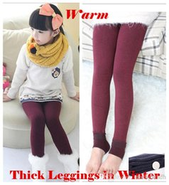 Wholesale Big Girls Leggings - Big Girl Leggings Tights Warmer Children Winter Solid Warm Pants Velvet Legging Knitted Thick Slim Cotton Leggings pants ouc022