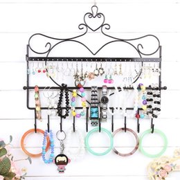 Wholesale Wood Jewelry Accessories - Wrought iron wall mounted frame earrings necklace holder stud earring accessories storage rack jewelry plaid pavans display rack