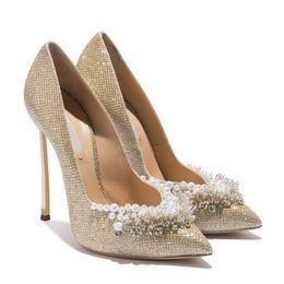 Wholesale Crystal Slip - Luxury Designer 2017 Womens Shoes Plus Size 34-43 Metal Blade Stiletto Heels Glitter Pearls Rhinestone Shoe White Gold Crystal Wedding Pumps