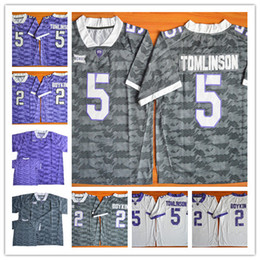 Wholesale Frog Custom - Custom TCU Horned Frogs College Football White gray purple Personalized Stitched Any Name Any Number Tomlinson Boykin Reagor 2 Jerseys S-3XL